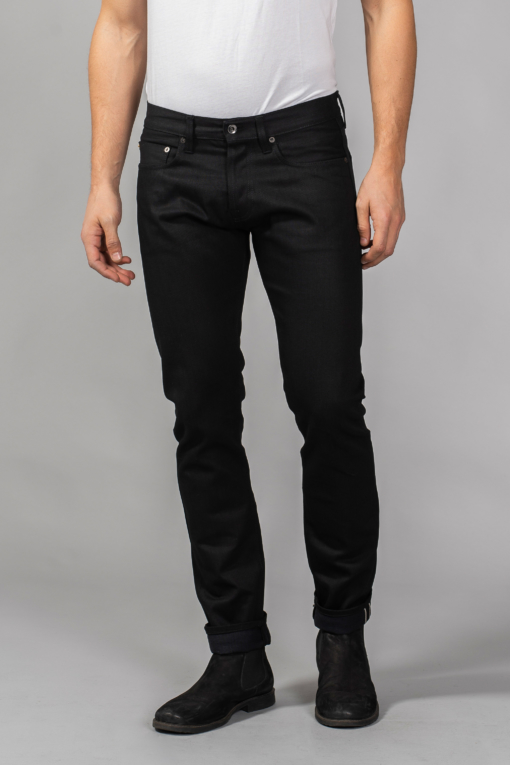 denim jeans m3 regular tapered 13oz. black black selvedge unwashed regular c.o.f studio candiani denim store