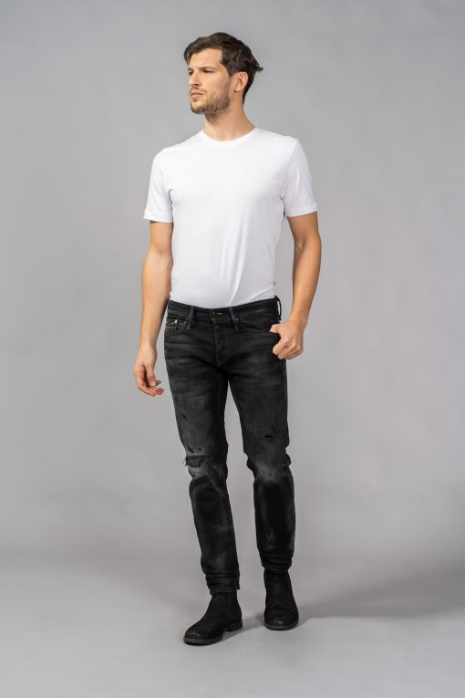 denim jeans midnight sky dark black heritage destroyed slim denham candiani denim store