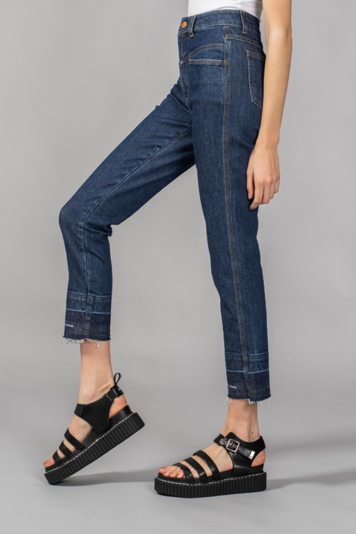 denim jeans pedal pusher dark blue slim closed candiani denim store