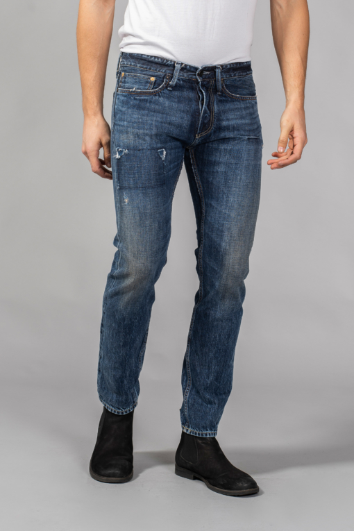 denim jeans rumble fish indigo mid blue destroyed slim denham candiani denim store
