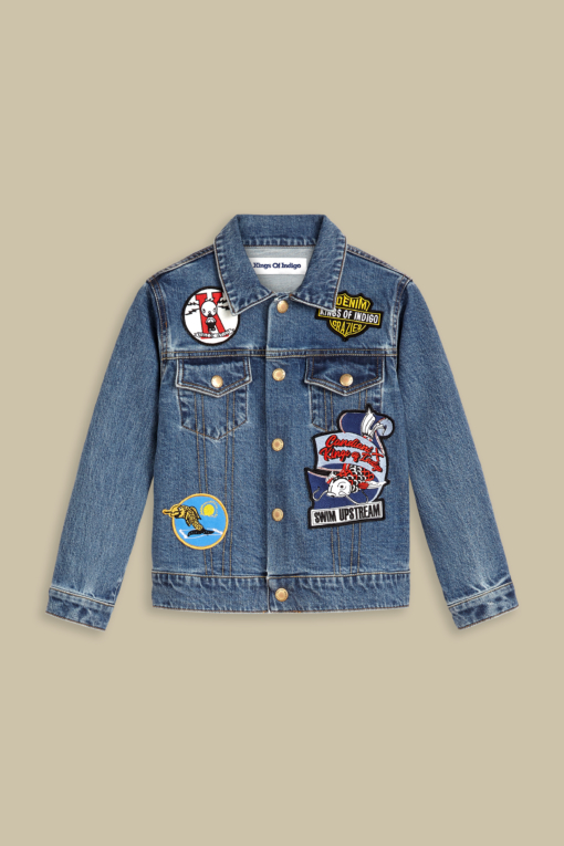 denim jeans Kids Koi Jacket Bio Stretch Blue Badge Allover boxy kings of indigo candiani denim store